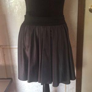 NYInvasion Black/Grey Leather Skater Skirt